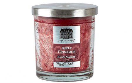 villa collection denmark apple cinnamon vonná svíce ve skle jablko skořice červená