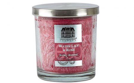 villa collection denmark water lily rose vodní lilie růže růžová vonná svíce ve skle