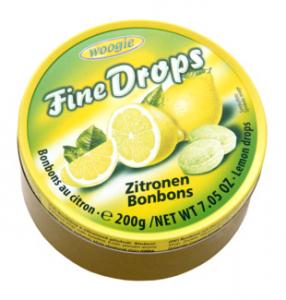 woogie citron fine drops tvrdé ovocné bonbony plech